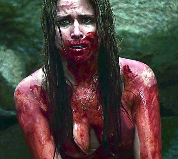 girl in woods bloody